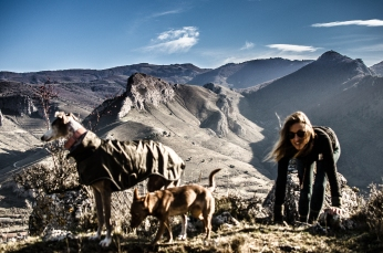 Ula, Joy, Ava and I hiking the mountains of Spain